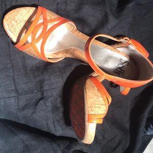 Orange High heels, brand is Sofft